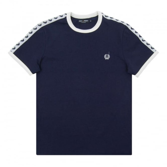 dda78d239 Fred Perry M6347 Taped Ringer T-Shirt Carbon Blue - Mens Clothing ...