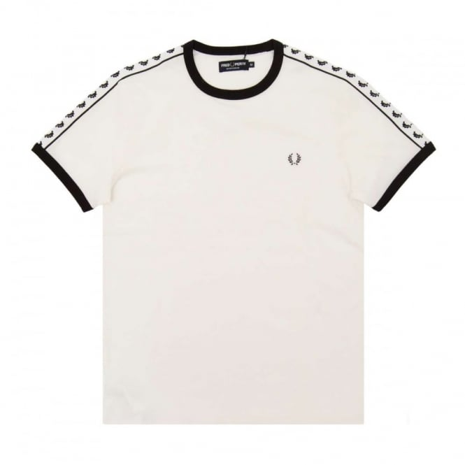 Fred Perry M6347 Taped Ringer T-Shirt Snow White