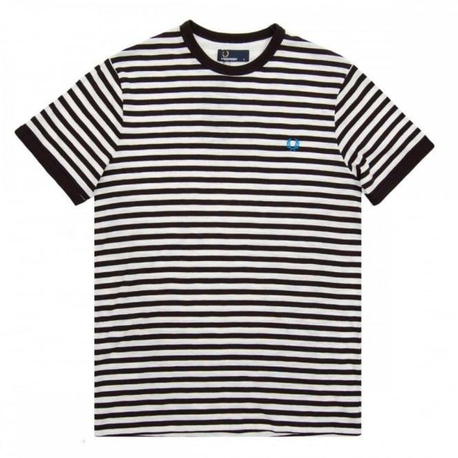 2991965d6 Fred Perry M6349 Slub Stripe T-Shirt Snow White Black - Mens ...