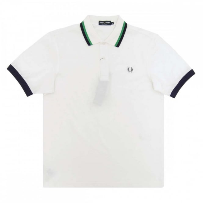 1c75b0977 Fred Perry M7390 Bold Tipped Pique Polo Snow White - Mens Clothing ...