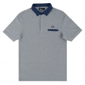 M9555 Oxford Trim Collar Polo Dark Carbon Oxford