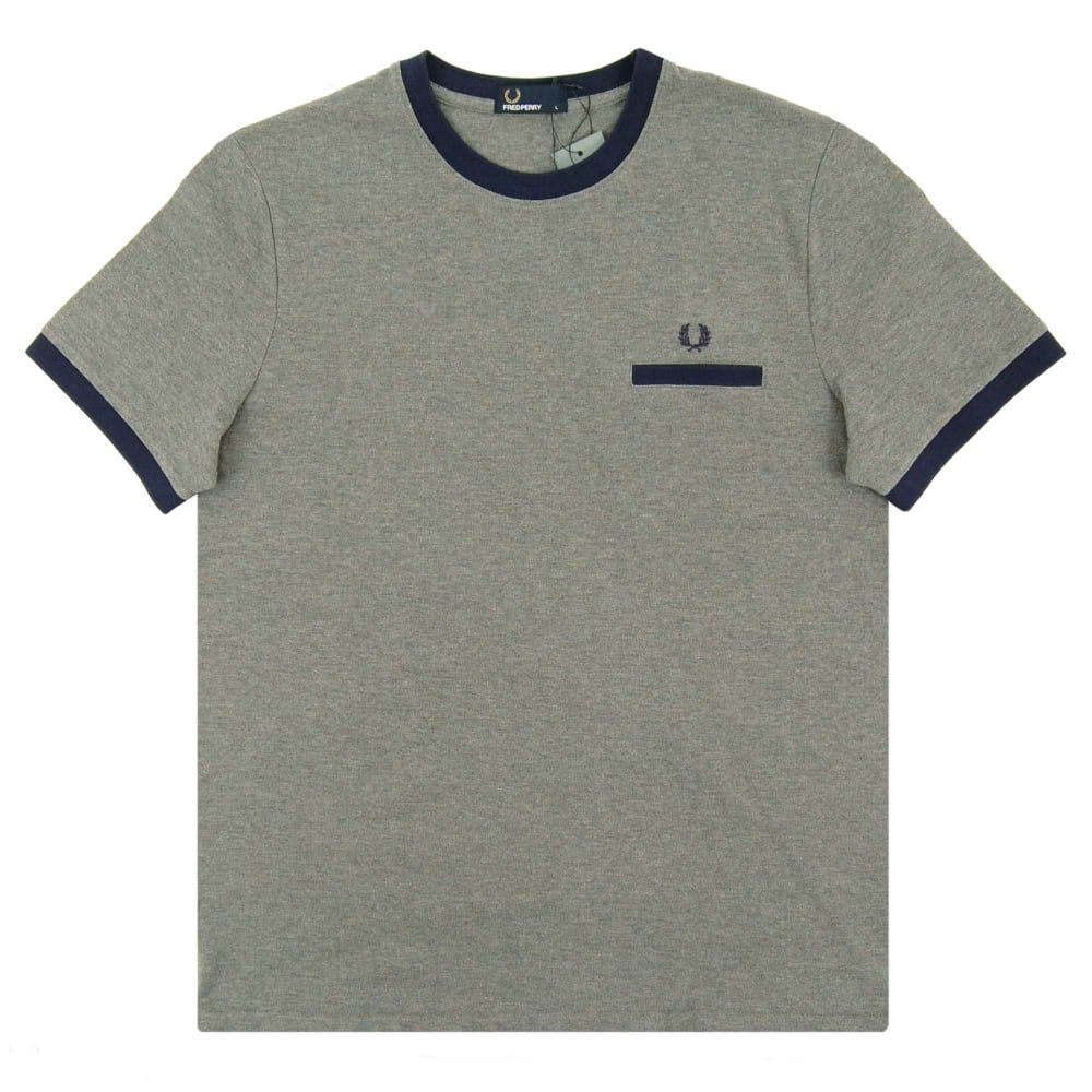 02d87c34 Fred Perry M9564 Pique Ringer T-Shirt Grey Marl - Mens Clothing from ...
