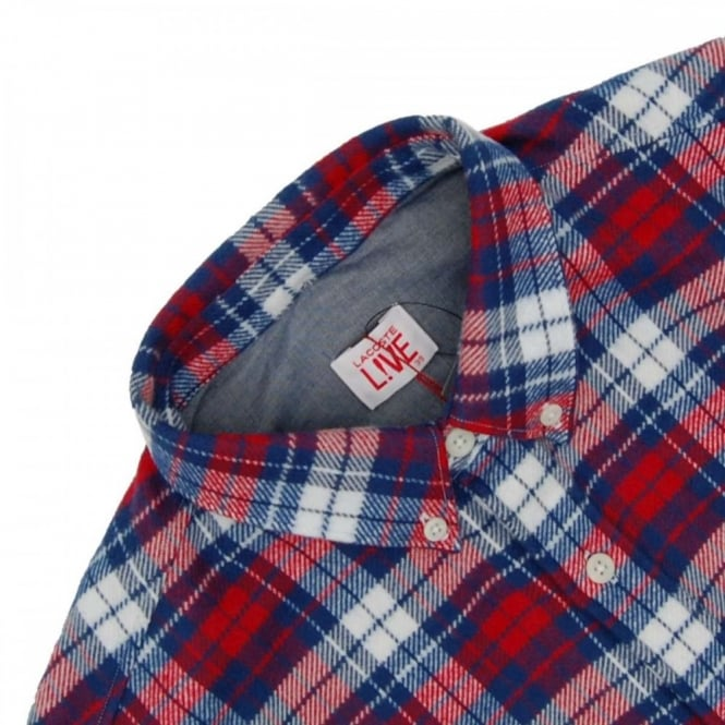 04bbe213 Lacoste L!ve CH1304 Check Flannel Shirt Inkwell Vesuvius ...