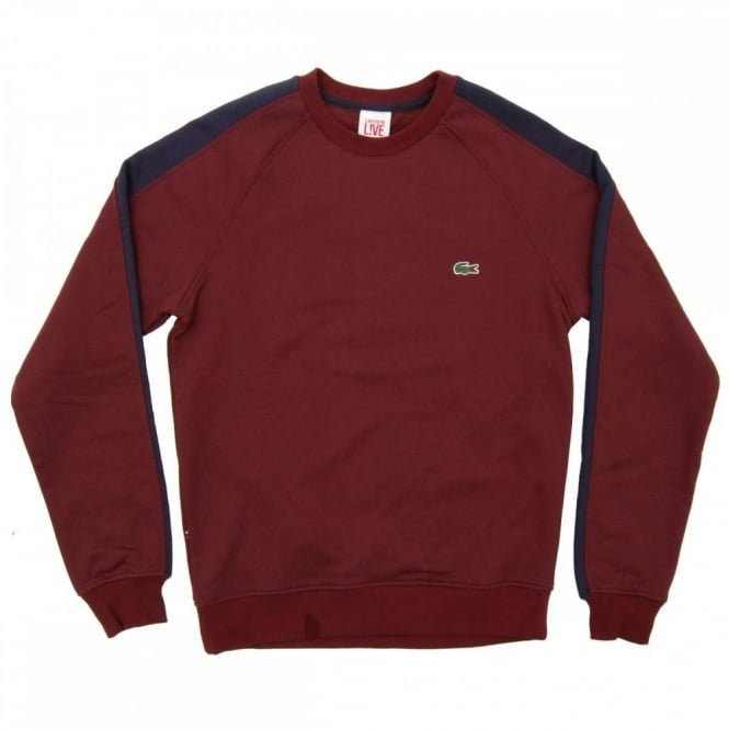 b02357fb07a Lacoste L!ve SH1482 Two Tone Sweatshirt Pruneau Navy Blue - Mens ...