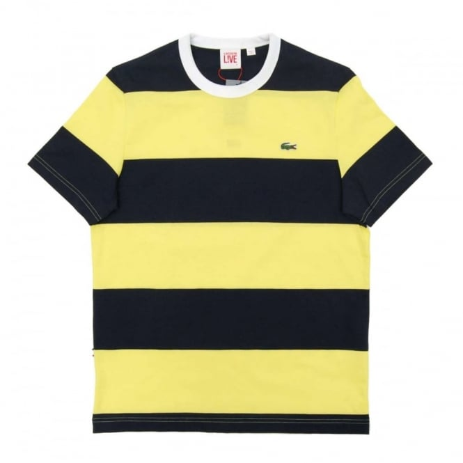 92fd55294a Lacoste L!ve TH5153 Block Stripe T-Shirt Navy Blue Acid Yellow