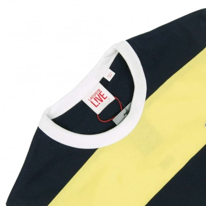 765bdb16 Lacoste L!ve TH5153 Block Stripe T-Shirt Navy Blue Acid Yellow ...