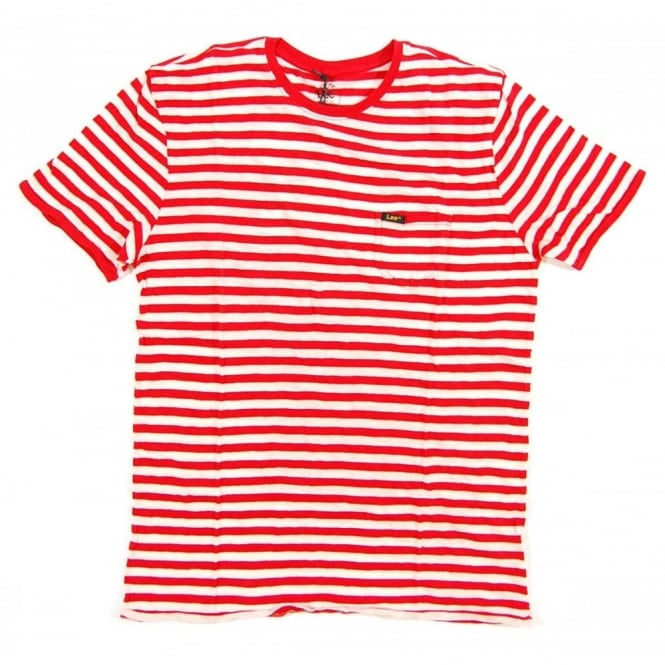 7888ce8495 Lee Grind Pocket T-Shirt Stripe True Red - Mens Clothing from Attic ...