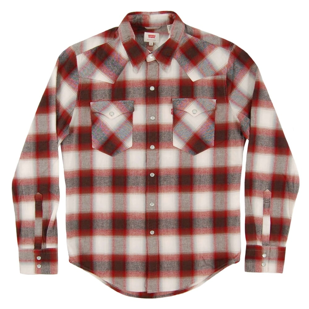 fd428cd48b Levi s Barstow Western Check Shirt Sun Dried Tomato - Mens Clothing ...