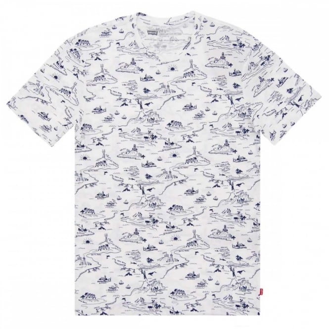 70c57d3c3f0 Levi's Standard Allover Print T-Shirt White - Mens Clothing from ...