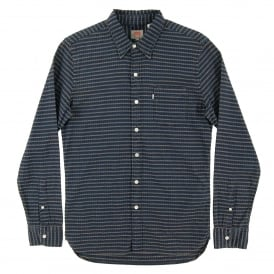 Sunset Pocket Shirt Indigo Dobby Stripe