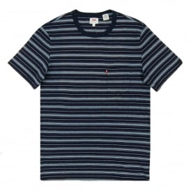 Sunset Pocket Stripe T-Shirt Indigo Cherry Bomb