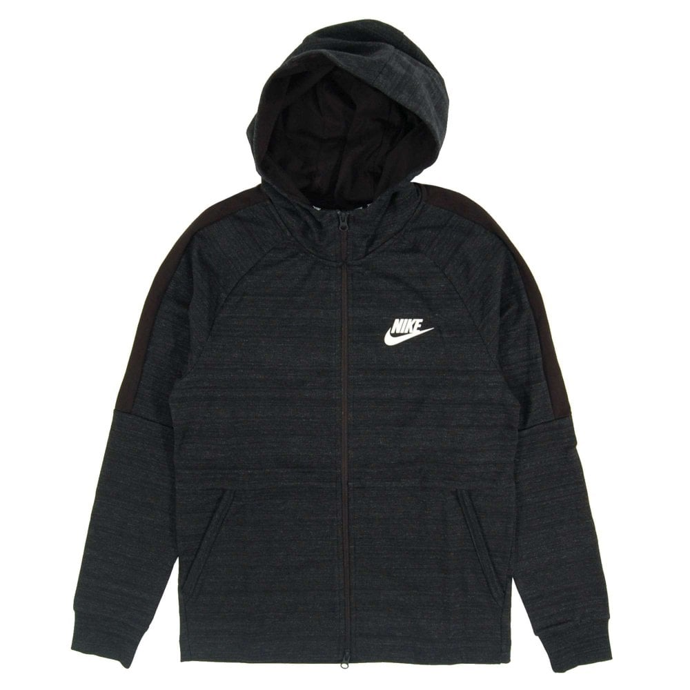 fea97185beaed Nike Advance 15 Zip Hoodie Knit Black Heather - Mens Clothing from ...