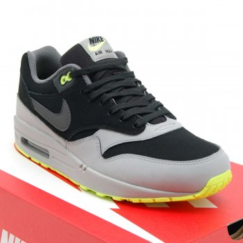 Nike Air Max 1 Leather 1 Black Dark Grey Volt
