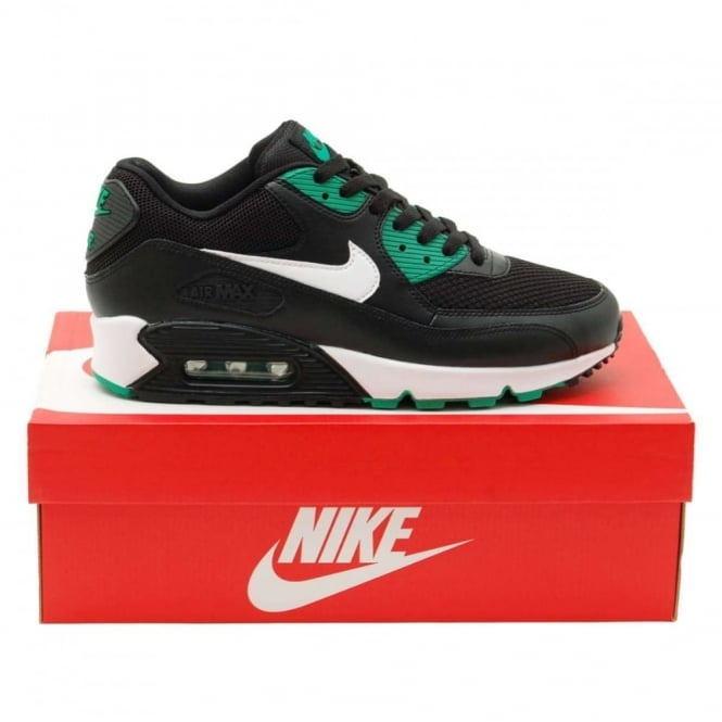 38d4561c2d3 Nike Air Max 90 Essential Black White Lucid Green - Mens Clothing from  Attic Clothing UK