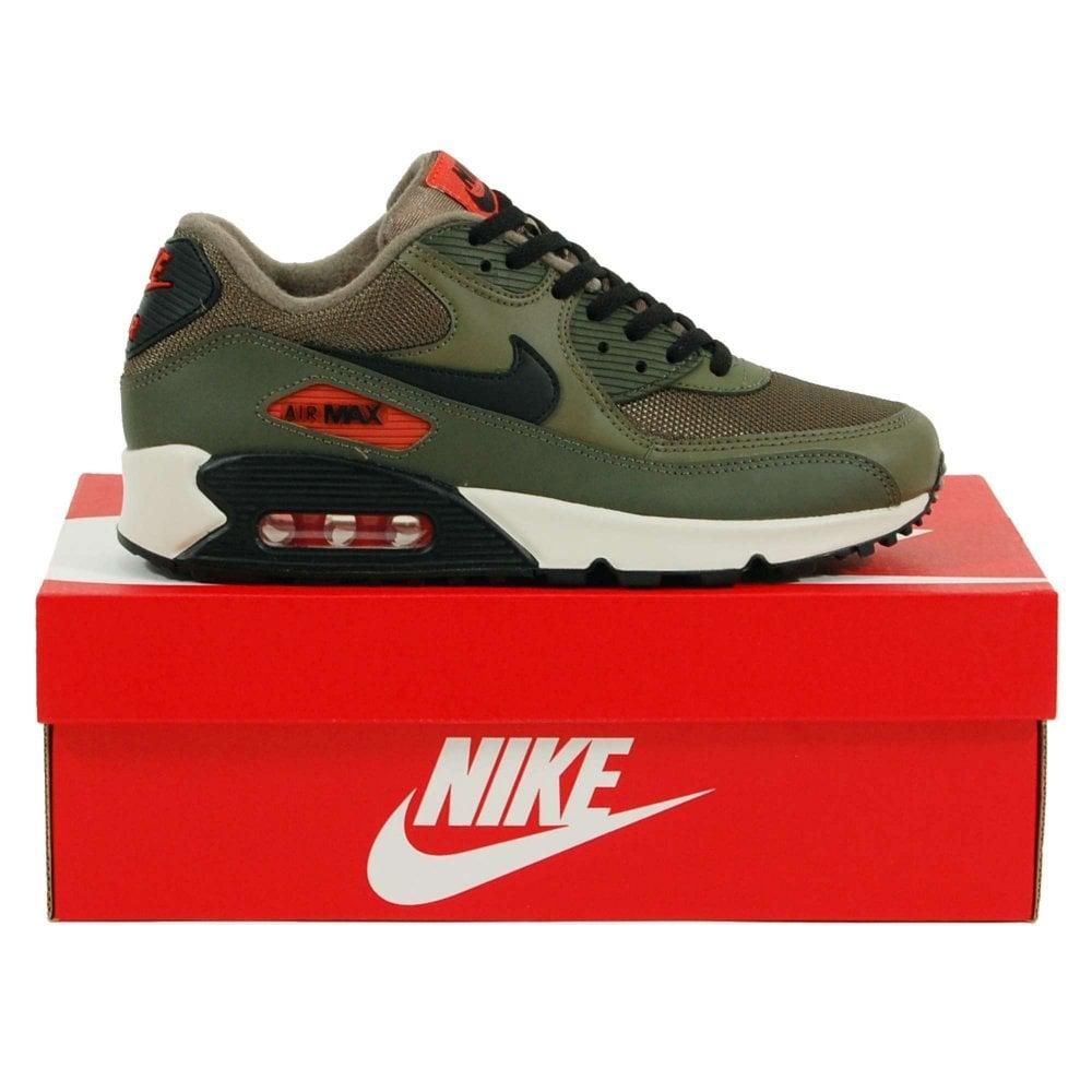 c06fdeb1fa Nike Air Max 90 Essential Medium Olive Black Team Orange - Mens ...