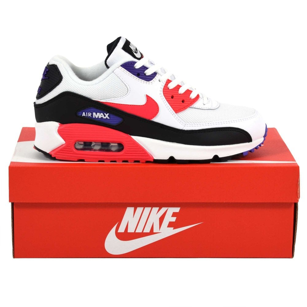 meet 687fa 293c5 Nike Air Max 90 Essential White Red Orbit Psychic Purple Black
