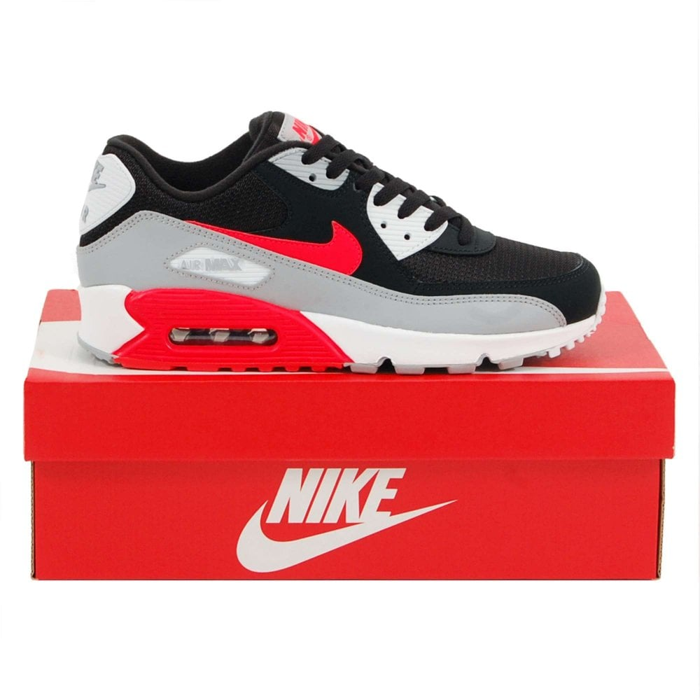 Nike Air Max 90 Essential Wolf Grey Bright Crimson Black White - Mens  Clothing from Attic Clothing UK 59d3afc8f