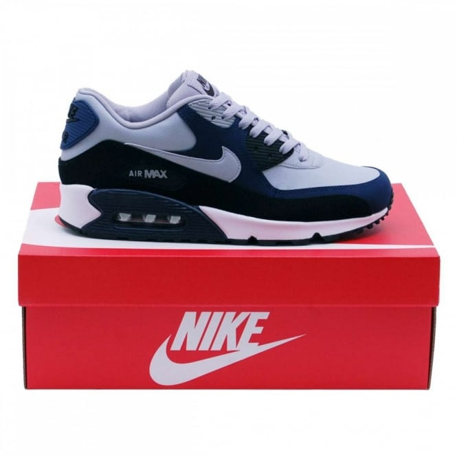 uk availability a5a11 b0e0b Nike Air Max 90 Leather Wolf Grey Midnight Navy