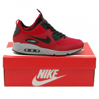 Nike Air Max 90 Mid Winter Men Gym RedBlackWolf Grey