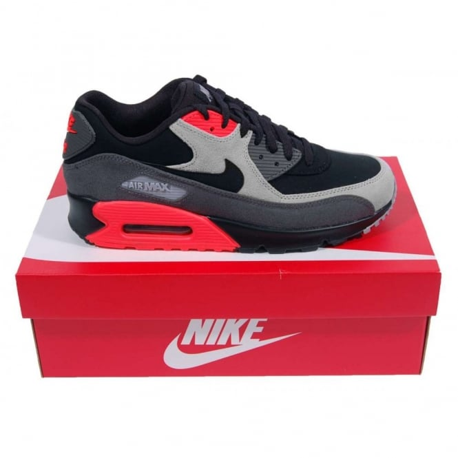 check out cc309 6dc6e Nike Air Max 90 Premium Leather Black Medium Ash Total Crimson - Mens  Clothing from Attic Clothing UK
