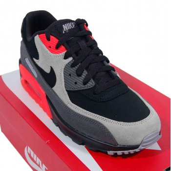 4112b3fbf602 Nike Air Max 90 Premium Leather Black Medium Ash Total Crimson ...
