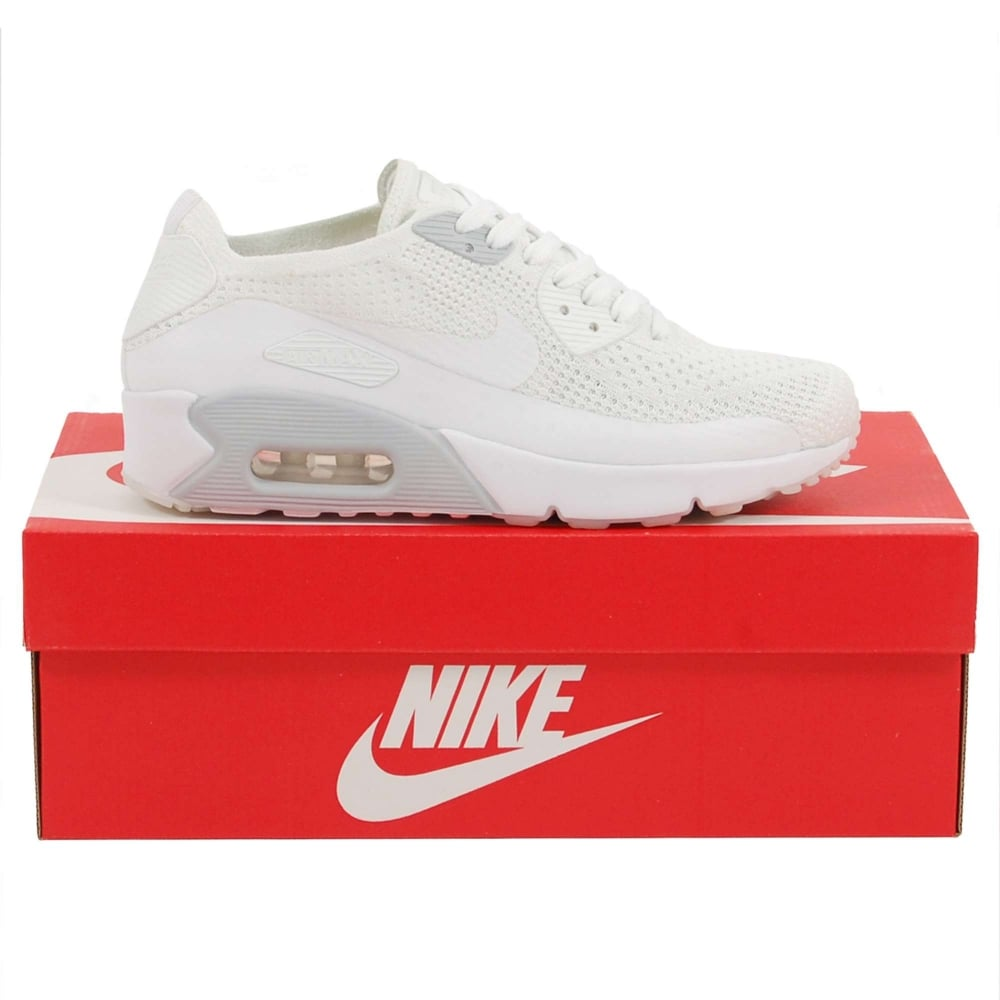 24b3eac17f02 Nike Air Max 90 Ultra 2.0 Flyknit White Pure Platinum - Mens ...