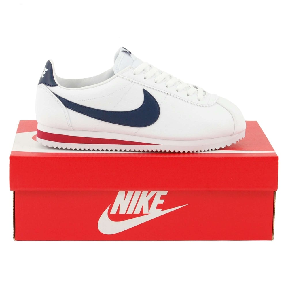 new concept bca14 dab80 Nike Classic Cortez Leather White Midnight Navy Gym Red