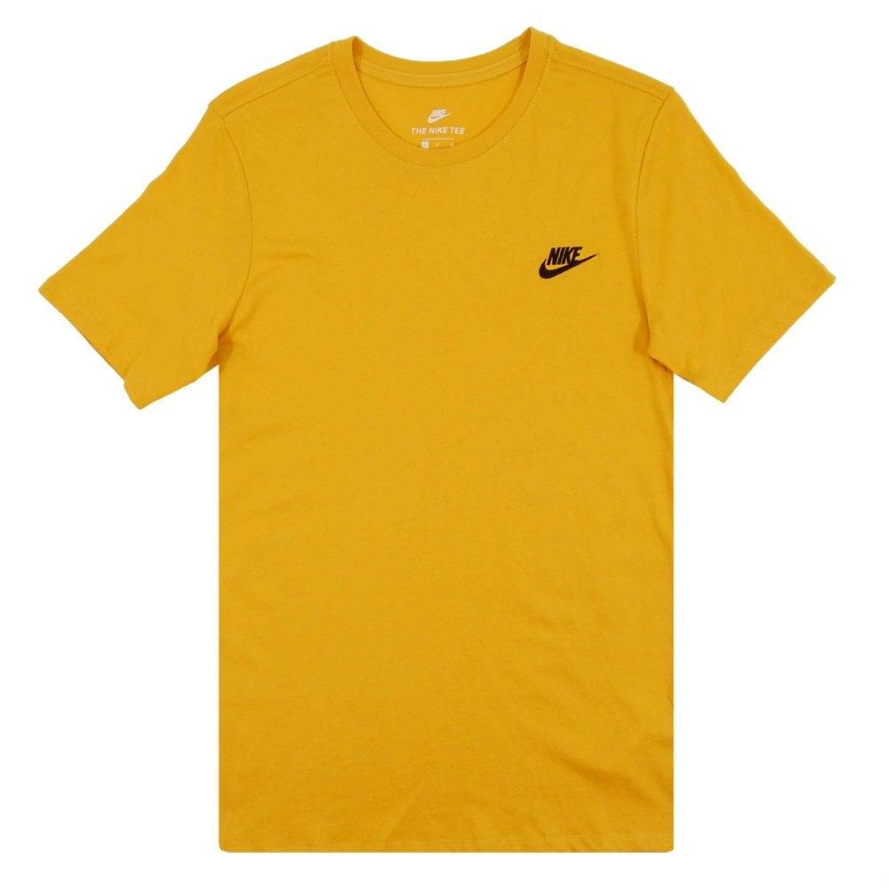 f1ec00993e15 Nike Club Embro Futura T-Shirt Yellow Ochre Black - Mens Clothing ...
