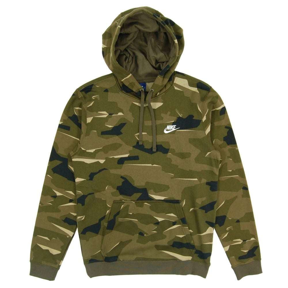 34f43cb00 Nike Club FT Pullover Camo Hoody Cargo Khaki White - Mens Clothing ...