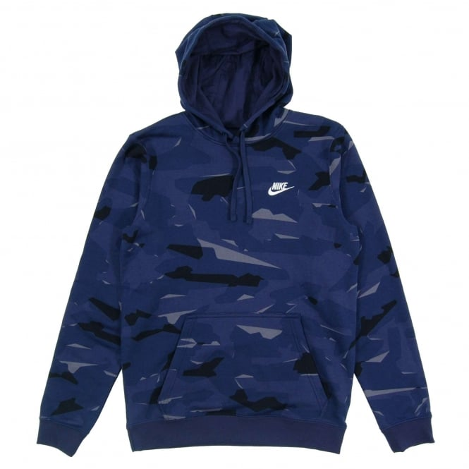 Nike Club FT Pullover Camo Hoody Midnight Navy White