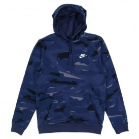 Club FT Pullover Camo Hoody Midnight Navy White