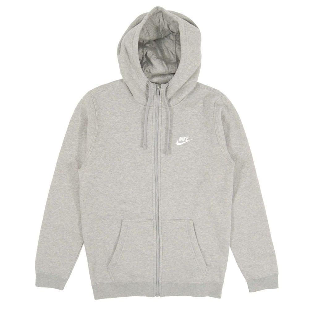 515613fcbb6 Nike Club Zip Fleece Hoody Dark Grey Heather White
