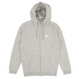 Club Zip Fleece Hoody Dark Grey Heather White