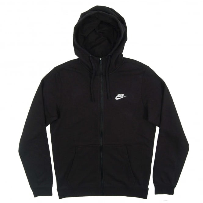 Nike Club Zip Hoodie FT Black White