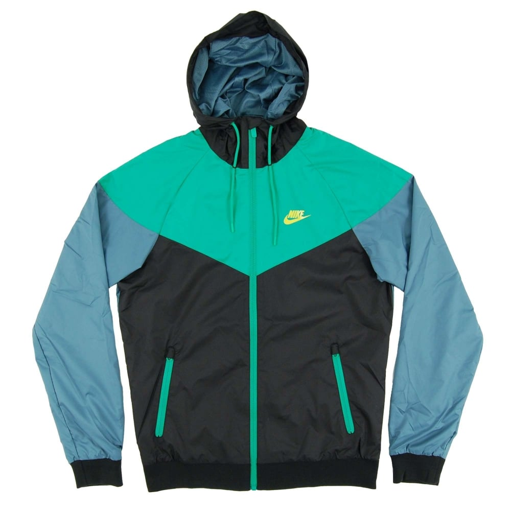shop for authentic wholesale price run shoes Nike Windrunner Jacket Black Stadium Green Mica Blue