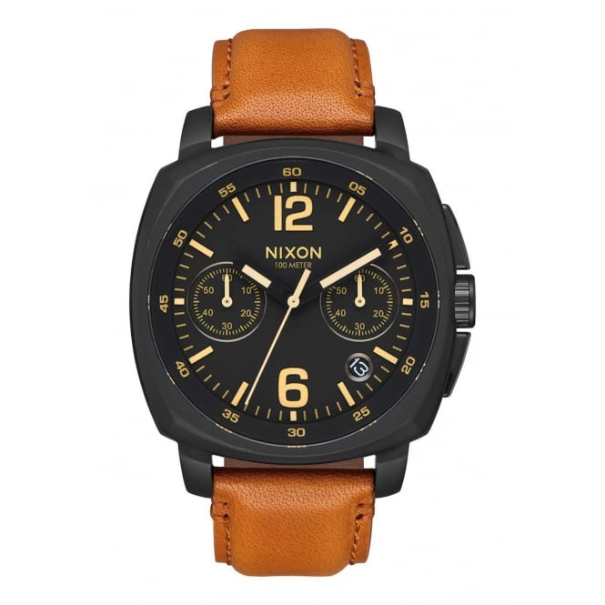 Nixon Charger Chrono Leather All Black Light Brown
