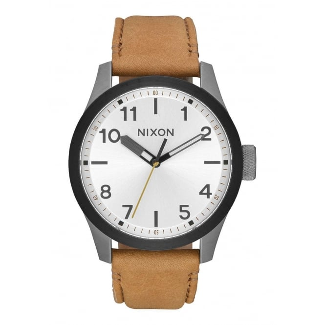 Nixon Safari Leather Gunmetal Silver Tan