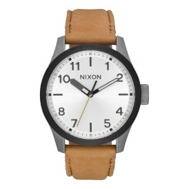Safari Leather Gunmetal Silver Tan