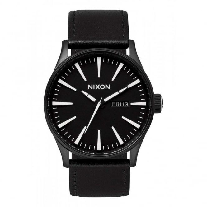 Nixon Sentry Leather Black White