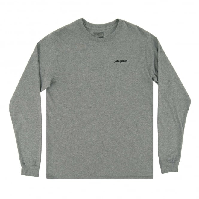 Patagonia LS P6 Logo T-Shirt Gravel Heather