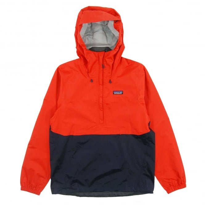 Patagonia Torrentshell Pullover Jacket Paintbrush Red Navy Blue