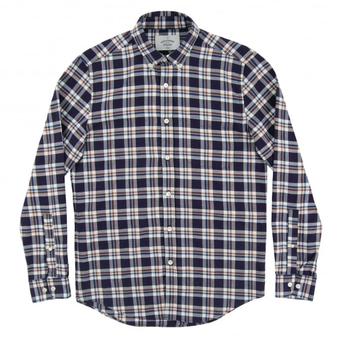Portuguese Flannel Budo Check Shirt Navy