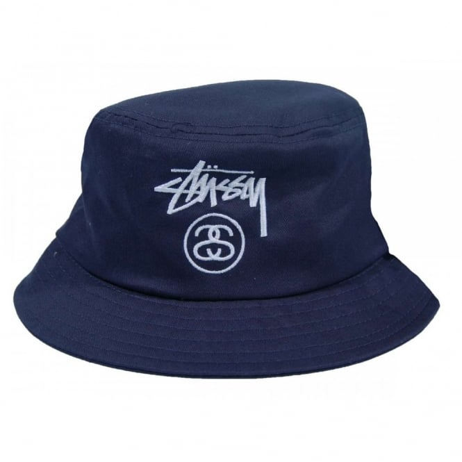 Stussy Stock Lock SP14 Bucket Hat Navy White - Mens Clothing from ... 218e2191572