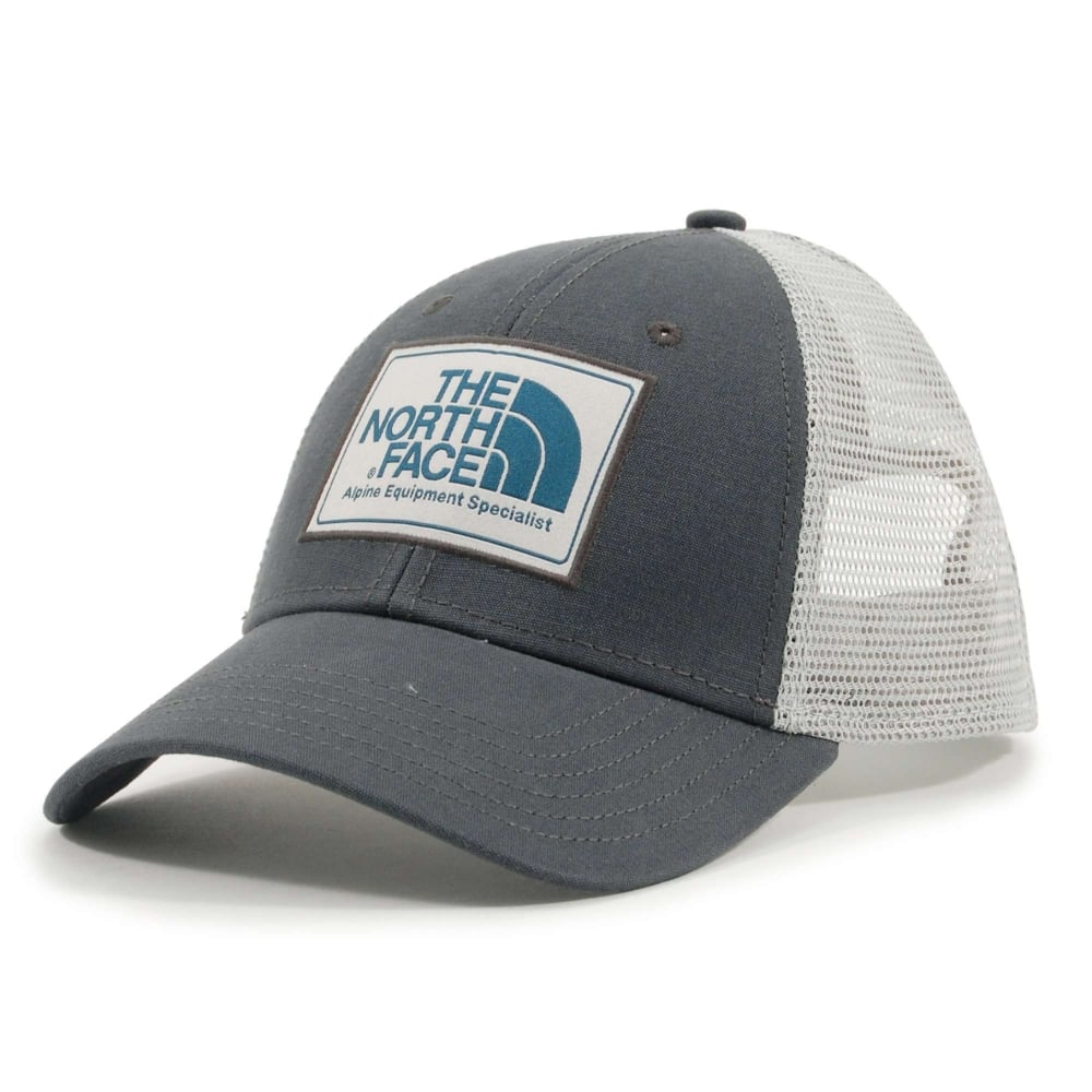 952fa7005 The North Face Mudder Trucker Hat Asphalt Grey High Rise Grey Blue Coral