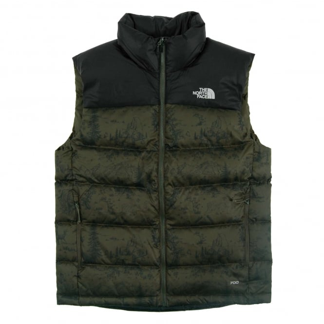 The North Face Nuptse 2 Vest Black Ink Green Toile De Jouy